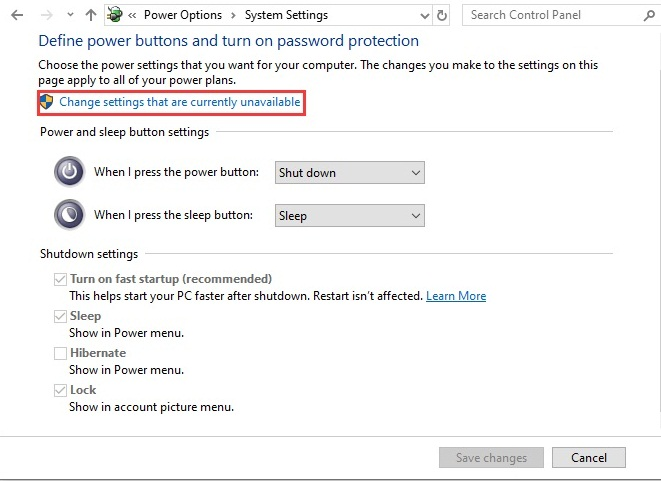 change settings option highlighted