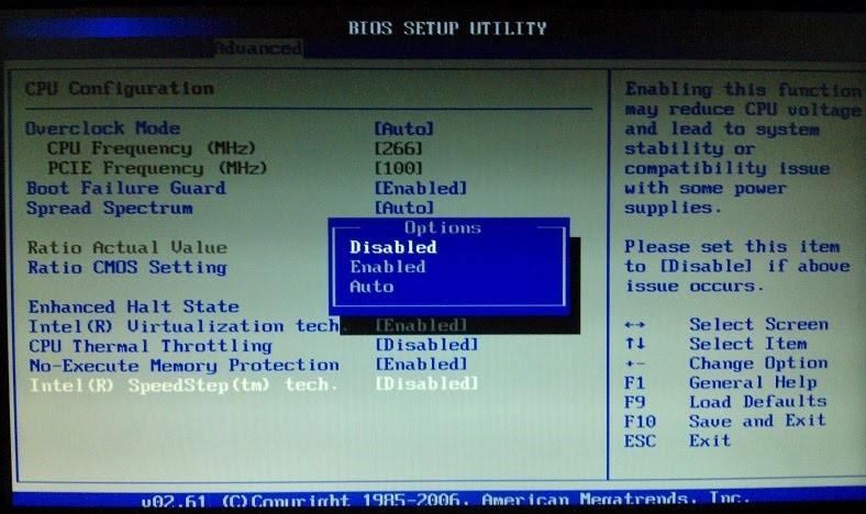 disable intel speedstep in bios