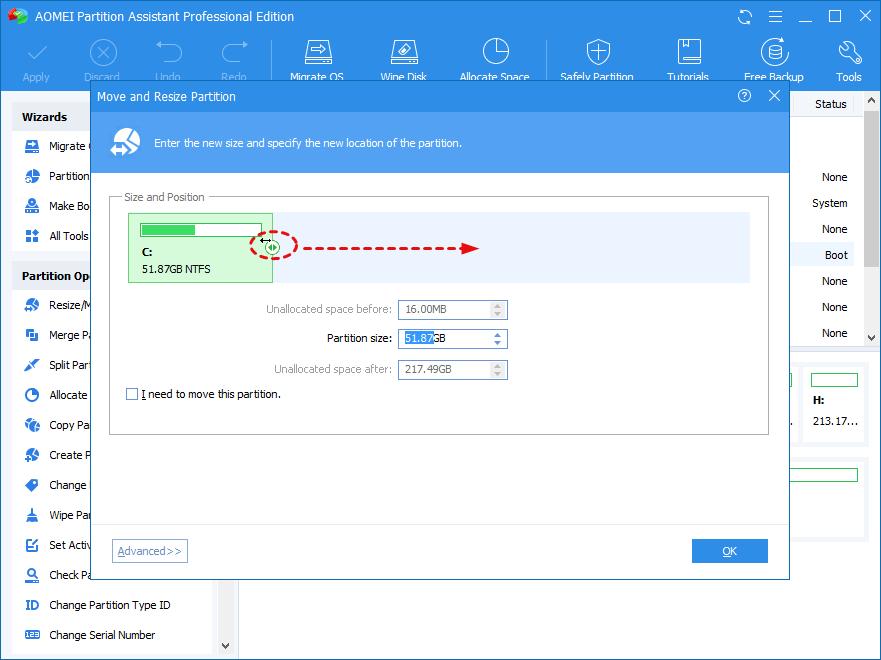 extend partition size