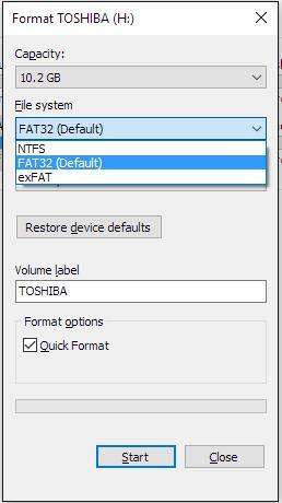 format to ntfs file explorer