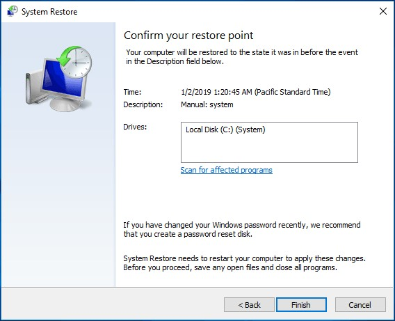 restore to previous point 4