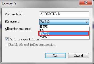 select fat32