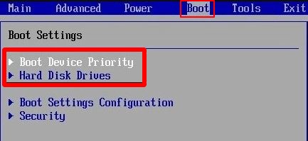 selecting-the-boot-tab