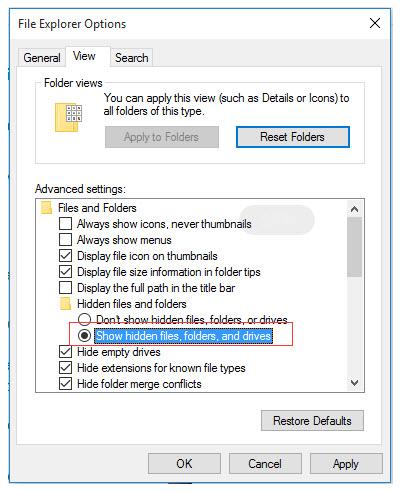 show 20hidden files file explorer