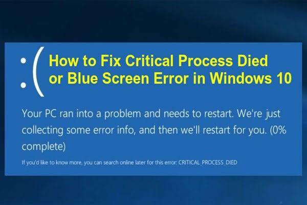 windows critical process died