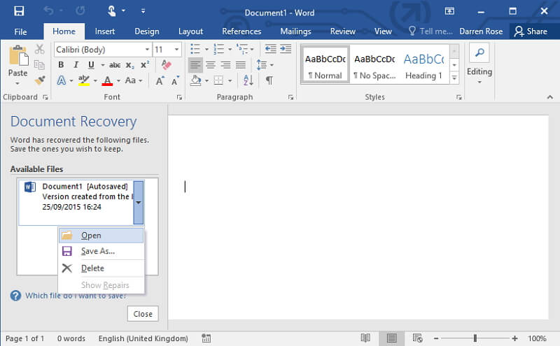 Word-Dokument öffnen