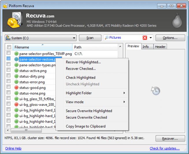 Recuva kostenlose Software zur Wiederherstellung von SD-Karten