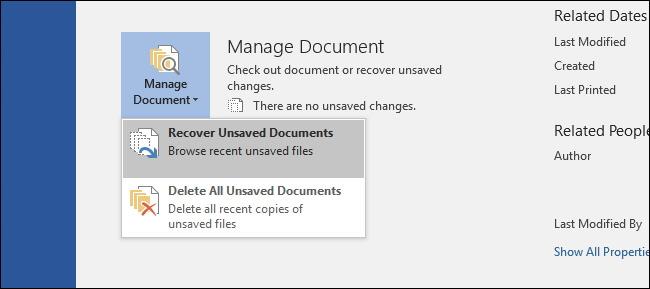 Nicht gespeicherte Dokumente wiederherstellen