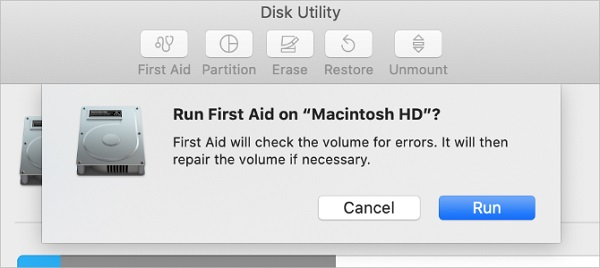 Run First Aid with Disk Utility