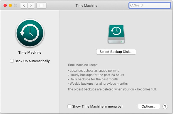 Select A Backup Disk