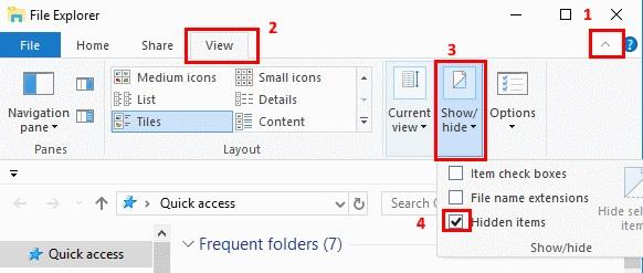 Windows View Hidden Items