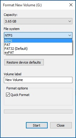 click fat32 and start