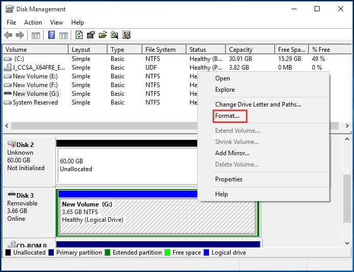 open disk management and click format