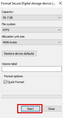 Select NTFS