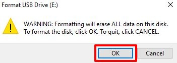 Click OK to proceed
