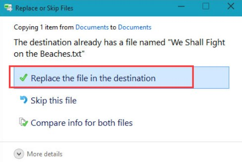 Select Replace the file