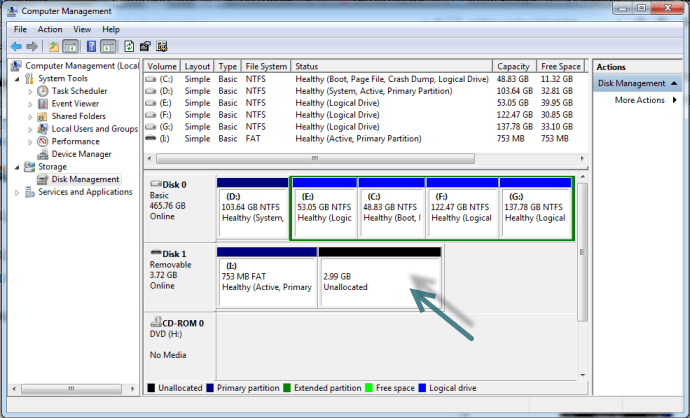 Unallocated SD card in Disk Management