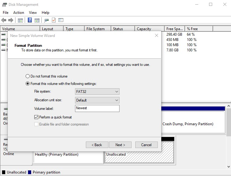 Format New Simple Volume in Disk Management
