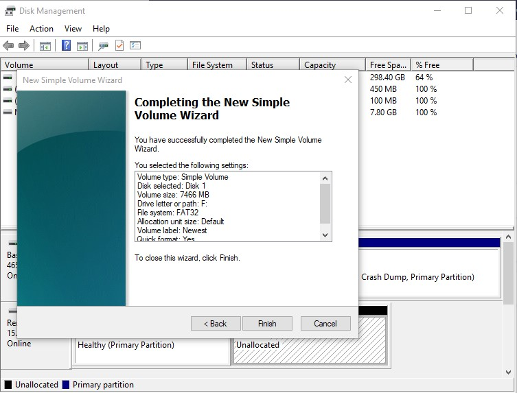 Complete New Simple Volume in Disk Management