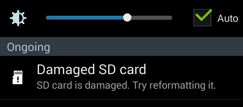 damaged sd card in android