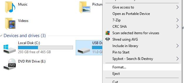 format command in file explorer