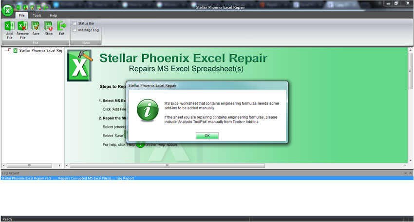 repair excel file step 1