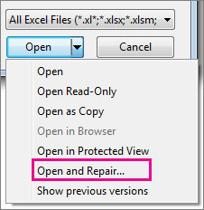 repair corrupted Excel files with open and repair option