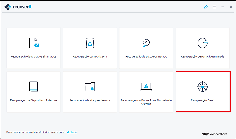 Recover Lost Data From Hard drive with wondershare data recovery step 1