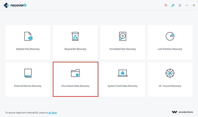 select virus attack data recovery mode