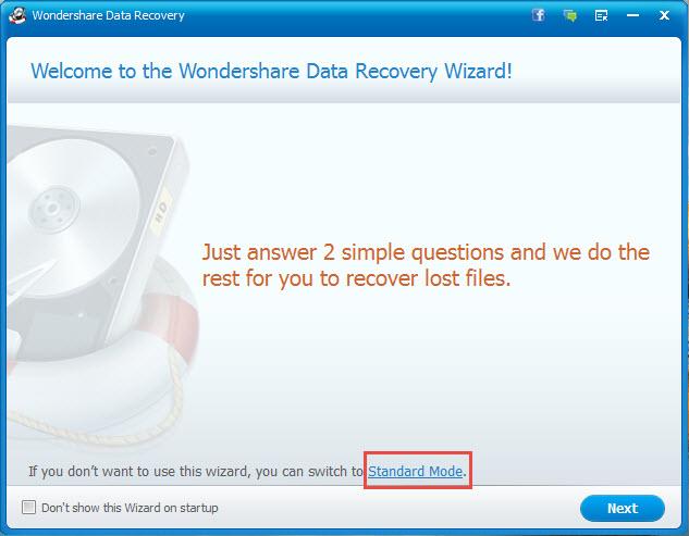 recuperare file persi con Wondershare recupero dati passaggio 1