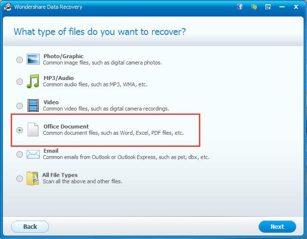 étape 3 sur la récupération de fichier d'office