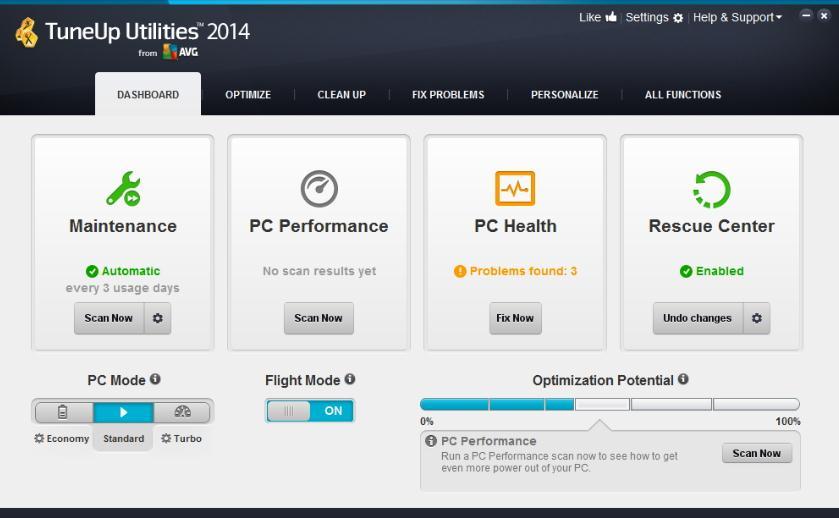 TuneUp Utilities zum Entfernen unerwünschter Dateien unter Windows