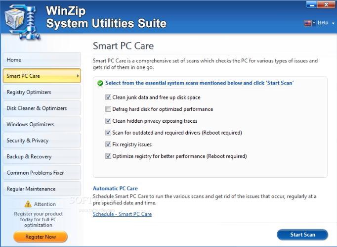 System Utilities Suite zum Entfernen unerwünschter Dateien unter Windows