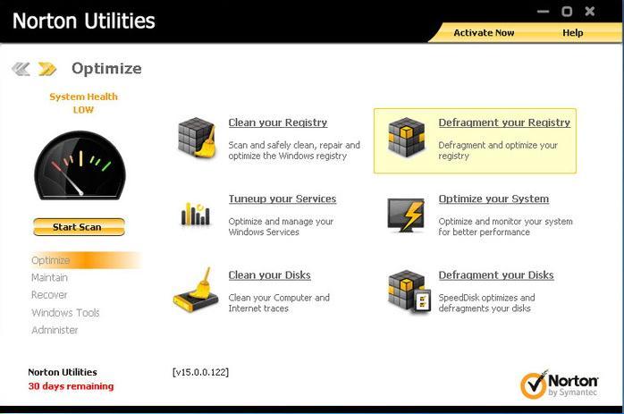 Norton Utilities zum Entfernen unerwünschter Dateien unter Windows
