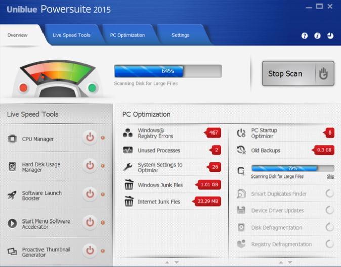 Uniblue PowerSuite zum Entfernen unerwünschter Dateien unter Windows