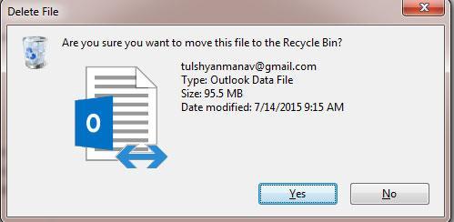 Bestätigen der Löschung der .ost-Datei