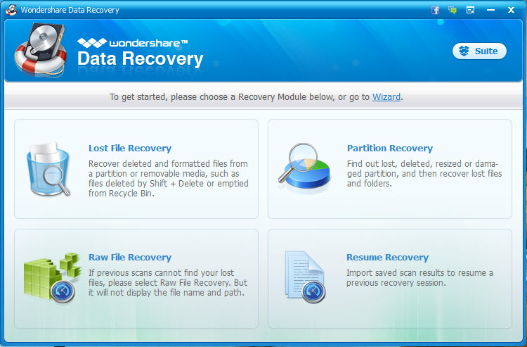 recuperar datos del disco duro con wondershare data recovery paso 1