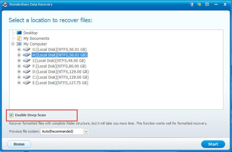recuperación de datos completa con Wondershare Data Recovery paso 3