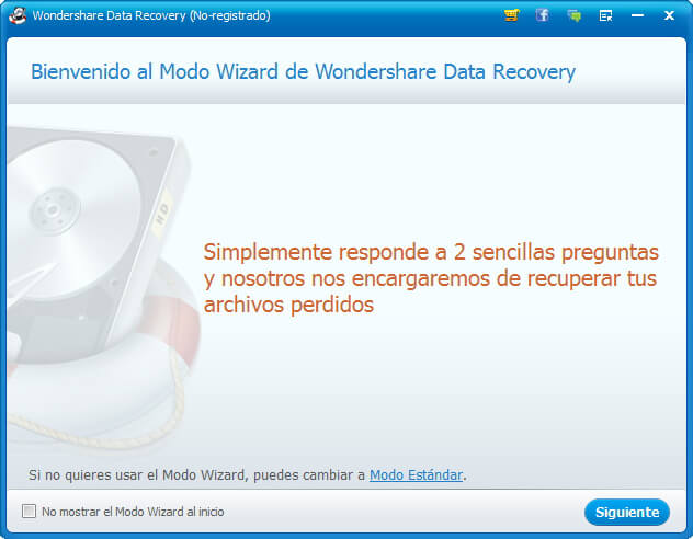 Recupera archivos perdidos con Wondershare Data Recovery paso 1
