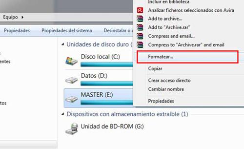 formatear partición windows