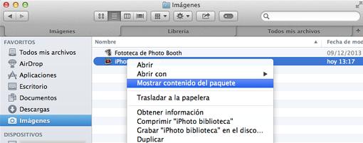 acceder a la biblioteca de iphoto