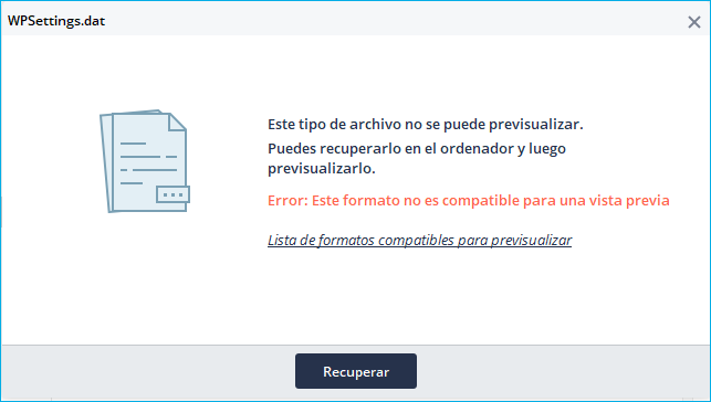 error de previsualización de Recoverit 2