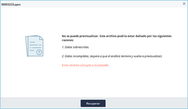 error de previsualización de Recoverit 1