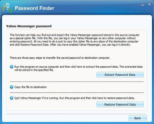 yahoo messenger password finder