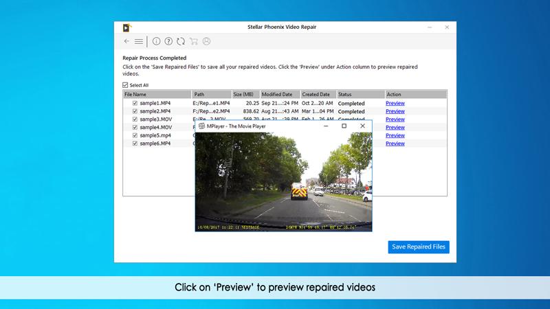 previsualiza archivos de video reparados