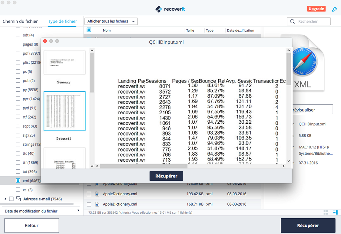 prévisualiser un document Excel