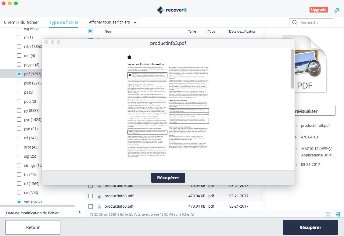 prévisualiser un fichier PDF