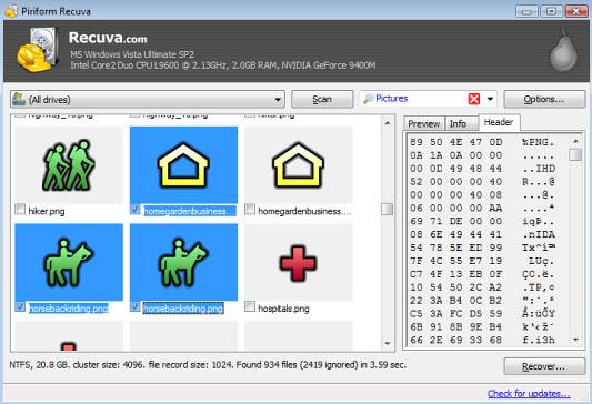 logiciel de récupération de disque dur Recuva
