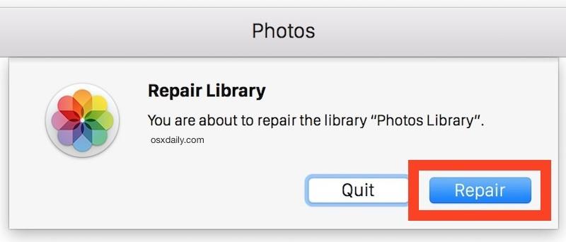 repair photos library