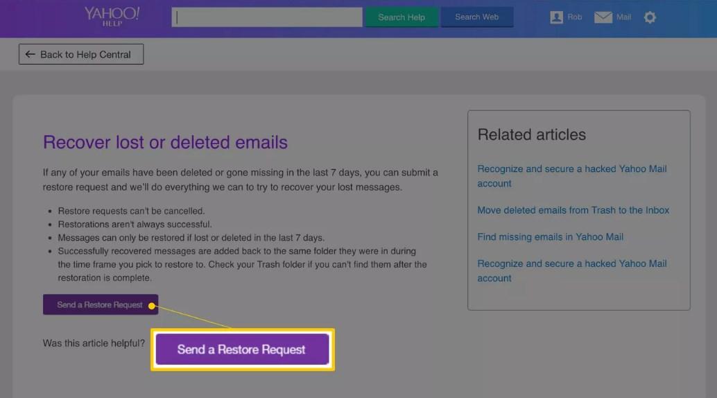 restaurar correos electrónicos de yahoo